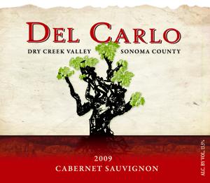 2009 Del Carlo Winery Cabernet Sauvignon Label